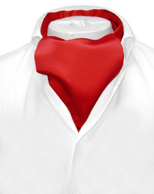 Red Cravat Tie | Vesuvio Napoli Mens Solid Color Ascot Cravat Tie