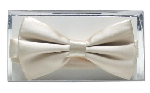 Solid Cream Off-White Mens BowTie   Mens Silk Pre Tied Bow Ties