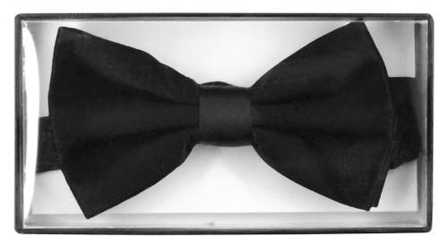 Solid Black Colored Mens Bowtie | Mens 100% Silk Pre Tied Bow Ties