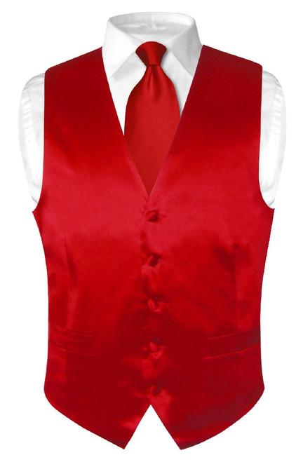 Red Vest | Red NeckTie | Silk Solid Red Color Vest Neck Tie Set