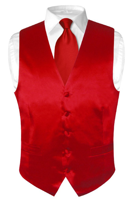 Biagio Mens Silk Dress Vest NeckTie Solid Rose Red Color Neck Tie Set