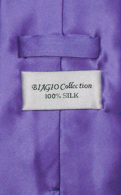Biagio Silk Solid Purple Color NeckTie Handkerchief Mens Neck Tie Set