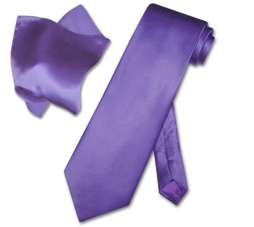 Biagio Silk Solid Purple Color NeckTie Handkerchief Mens Neck Tie Set