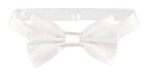 Solid White Color Mens BowTie | Mens 100% Silk Pre Tied Bow Ties