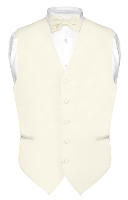 Cream Colored Vest And Cream Colored Bow Tie Matching Set