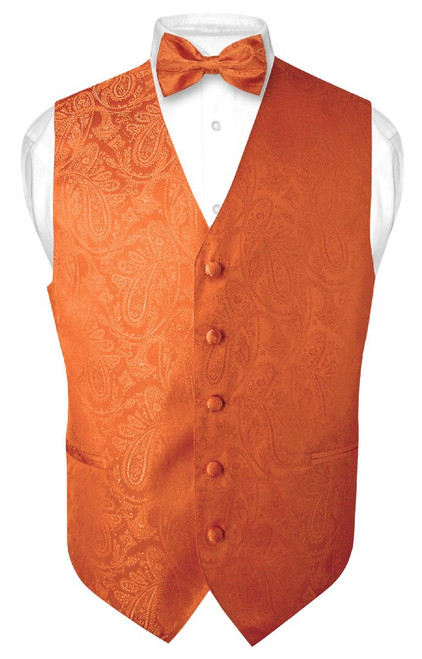 Mens Paisley Design Dress Vest & Bow Tie Burnt Orange Color BowTie Set
