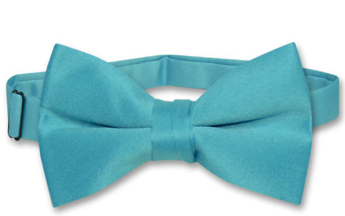Vesuvio Napoli Boys BowTie Solid Turquoise Blue Color Youth Bow Tie
