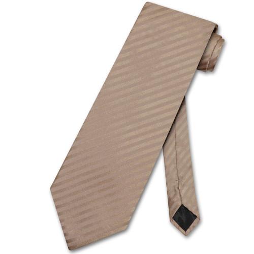 Vesuvio Napoli NeckTie Mocha Lt Brown Vertical Stripe Mens Neck Tie