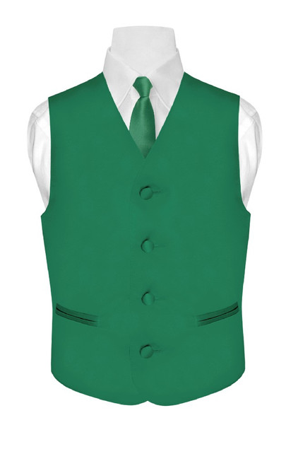 Boys Dress Vest NeckTie Solid Emerald Green Color Neck Tie Set