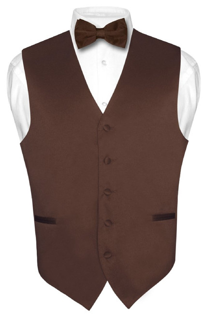 Chocolate Brown Vest | Mens Brown Dress Vest And Bowtie Set