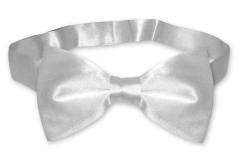 Silver Gray Mens Bowtie   Biagio Silk Pre Tied Solid Color Bow Tie