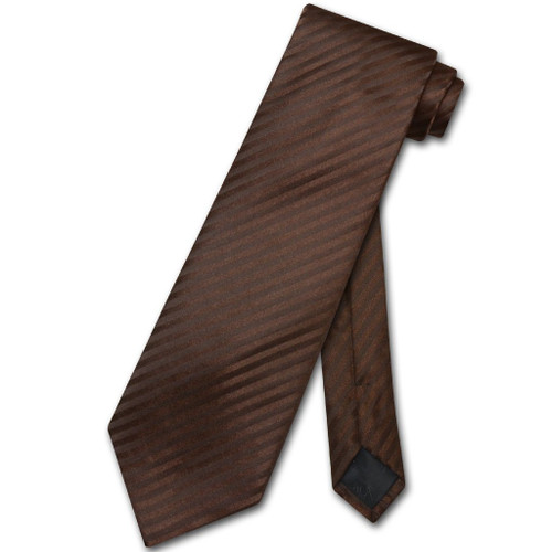 Vesuvio Napoli NeckTie Chocolate Brown Vertical Stripe Mens Neck Tie
