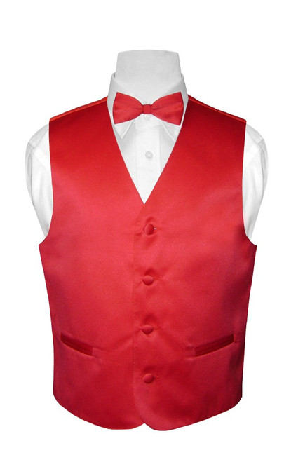Boys Dress Vest Bow Tie Solid Red Color BowTie Set
