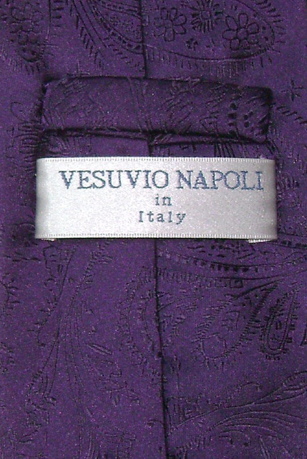 Vesuvio Napoli Dark Purple Paisley NeckTie Handkerchief Neck Tie Set
