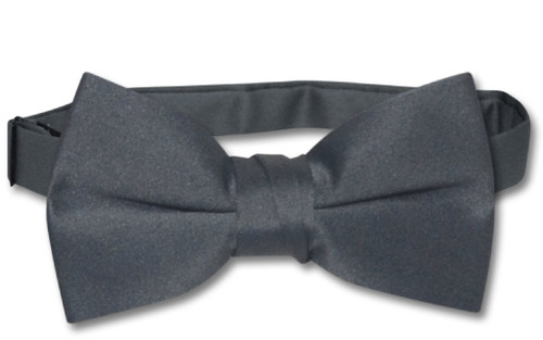 Vesuvio Napoli Boys BowTie Solid Charcoal Grey Color Youth Bow Tie