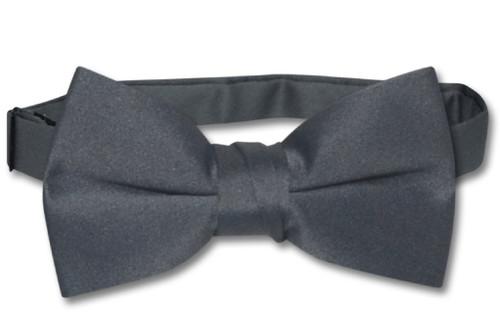 Vesuvio Napoli Boys BowTie Solid Charcoal Grey Color Youth Bow Tie
