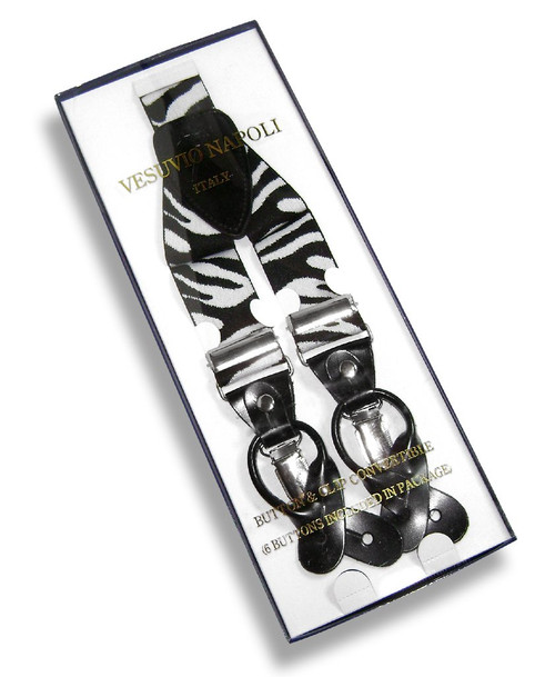 Mens Zebra Print Suspenders Y Shape Back Elastic Button & Clip