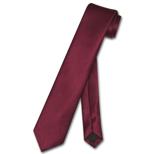 Vesuvio Napoli Narrow NeckTie Skinny Burgundy Color Mens Neck Tie