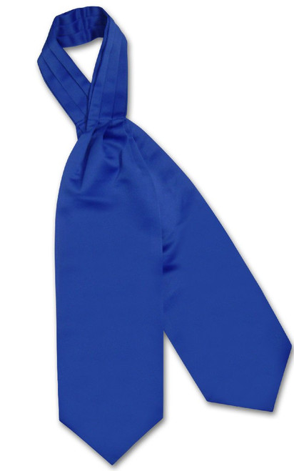 Royal Blue Cravat Tie   Vesuvio Napoli Mens Solid Color Ascot Cravat