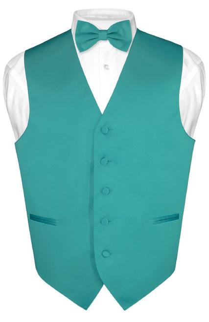 Mens Dress Vest & BowTie Solid Teal Color Bow Tie Set