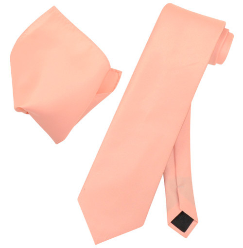 Peach Color Tie And Peach Color Handkerchief Set For Men
