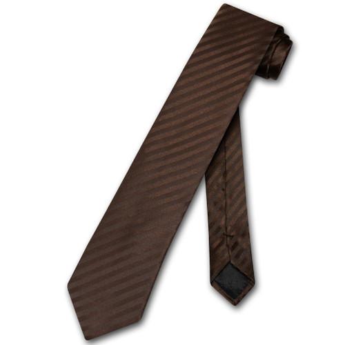 Vesuvio Napoli NeckTie Chocolate Brown Vertical Stripe Skinny Neck Tie