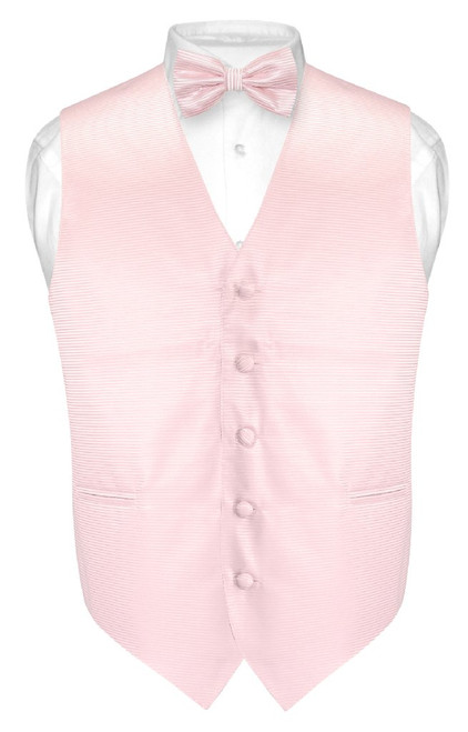 Mens Dress Vest BowTie Pink Horizontal Stripe Bow Tie Woven Design Set