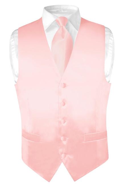 Biagio Men Silk Dress Vest NeckTie Solid Light Pink Color Neck Tie Set