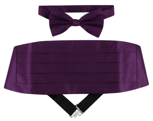 Cumberbund And Bow Tie | Dark Purple Cumberbund Bow Tie Set