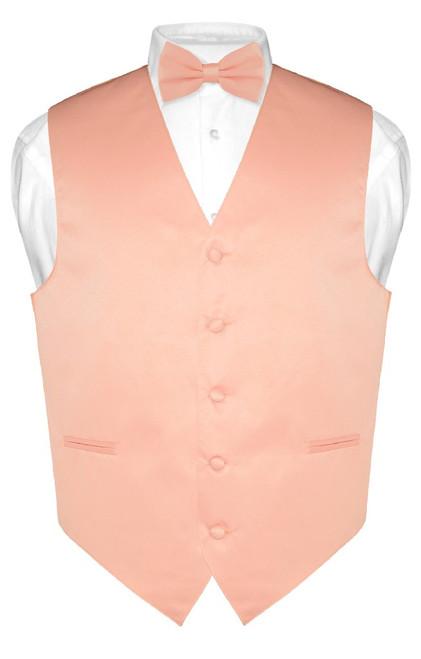 Mens Dress Vest & BowTie Solid Peach Color Bow Tie Set