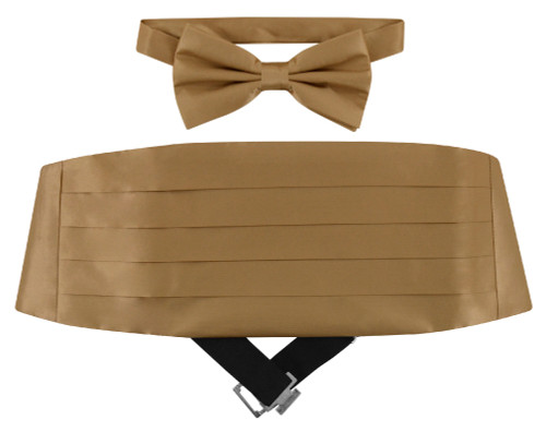 Silk Cumberbund BowTie Beige Light Brown Mens Cummerbund Bow Tie Set