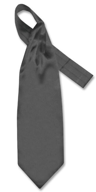 Charcoal Grey Cravat Tie | Biagio Ascot Solid Color Mens NeckTie