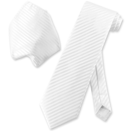 Vesuvio Napoli White Striped NeckTie & Handkerchief Neck Tie Set