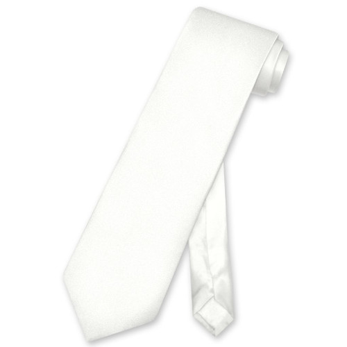 Biagio 100% Silk NeckTie Extra Long Solid Off-White Mens XL Neck Tie