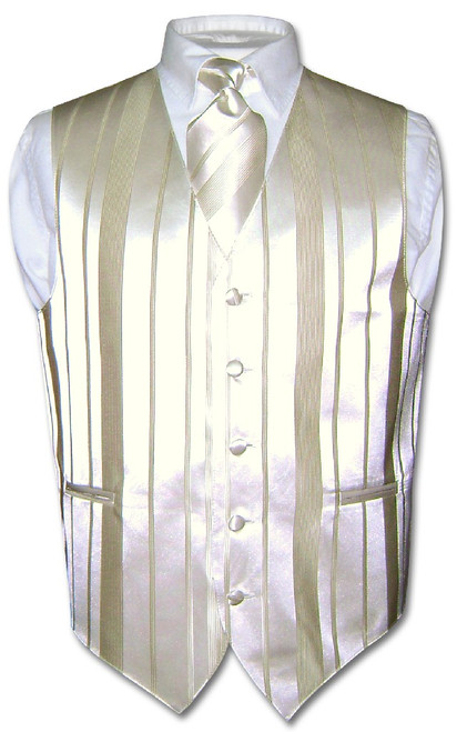 Mens Dress Vest & NeckTie Cream Off-White Color Striped Neck Tie Set
