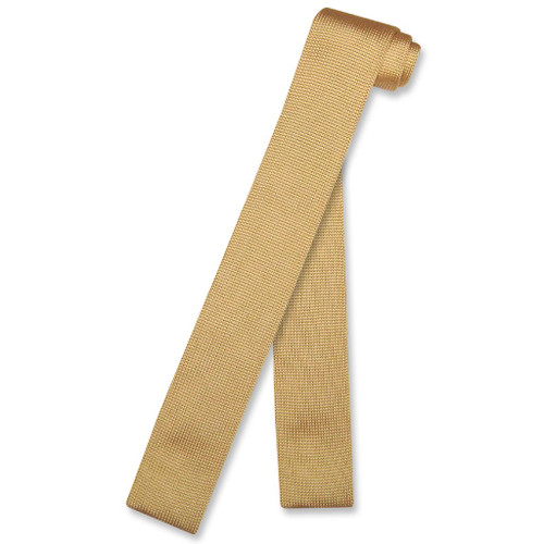 Gold Color Knit Neck Tie | Biagio Solid Color Knitted Mens NeckTie
