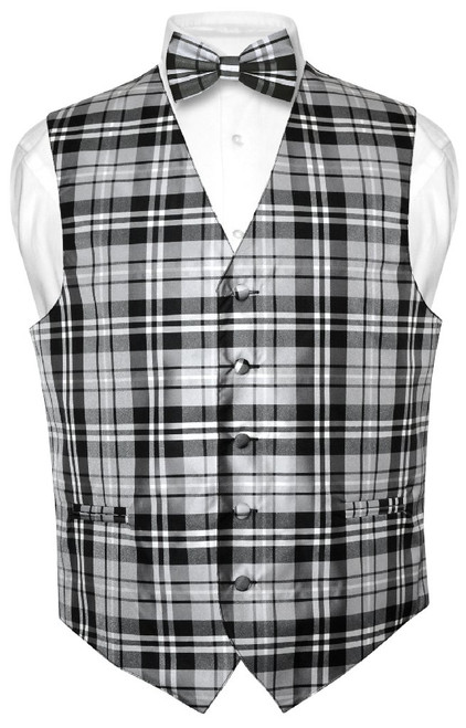 Mens Plaid Design Dress Vest & BowTie Black Gray White Bow Tie Set
