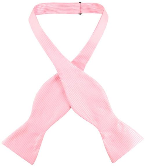 Antonio Ricci Self Tie Bow Tie Solid Pink Ribbed Pattern Mens BowTie
