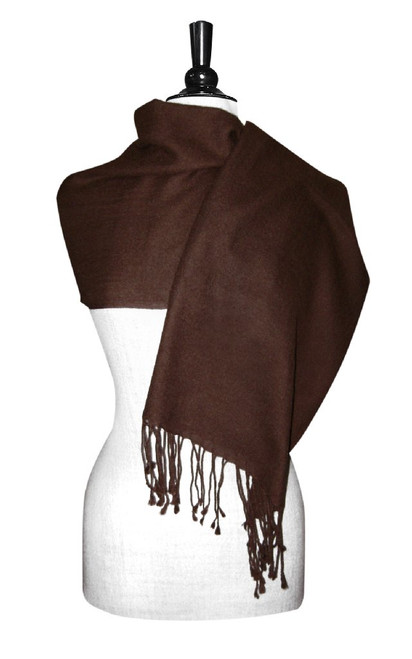 Chocolate Brown Pashmina | Biagio 100% Wool Pashmina Scarf