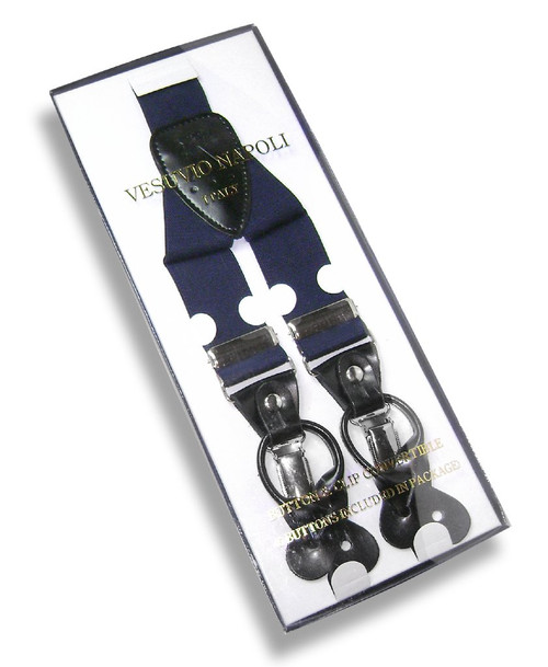 Mens Navy Blue Suspenders Y Shape Back Button & Clip Convertible