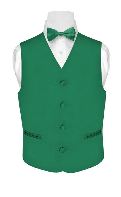 Boys Dress Vest Bow Tie Solid Emerald Green Color BowTie Set