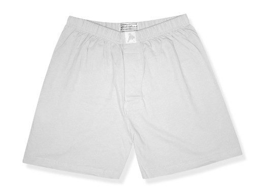 100% Knit Cotton Boxer Shorts | Biagio Mens Solid Silver Gray Boxer