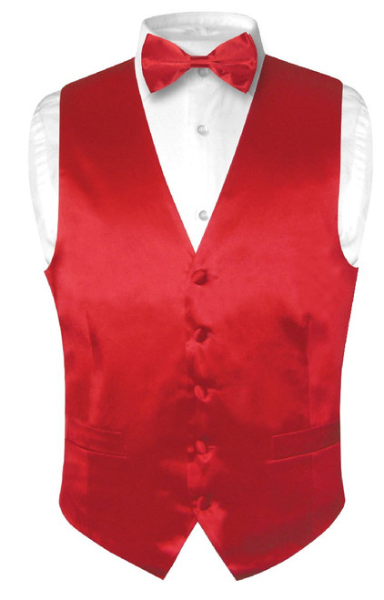 Biagio Mens Silk Dress Vest & Bow Tie Solid Rose Red Color BowTie Set