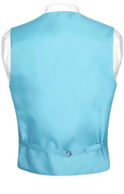 Mens Dress Vest & BowTie Turquoise Blue Bow Tie Horizontal Stripe Set