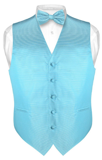 Mens Dress Vest & BowTie Turquoise Blue Bow Tie Horizontal Stripe Set