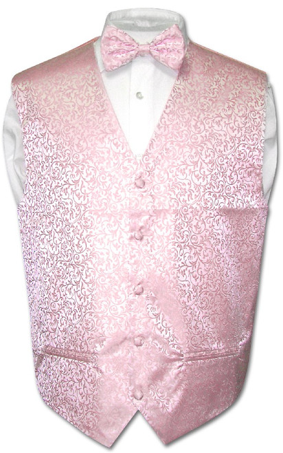 Antonio Ricci Mens Paisley Dress Vest Bow Tie Pink BowTie Set sz 2XL