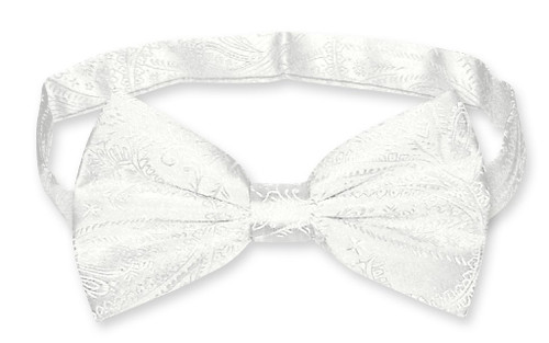 Vesuvio Napoli BowTie Off-White Paisley Color Mens Bow Tie