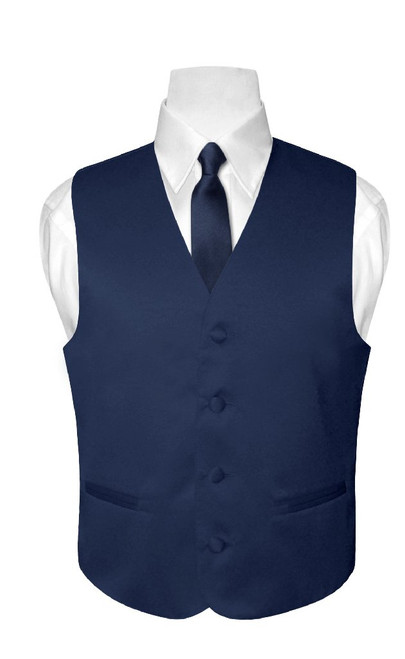 Boys Dress Vest NeckTie Solid Navy Blue Color Neck Tie Set