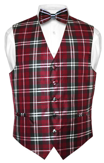 Mens Plaid Design Dress Vest & BowTie Black Burgundy White Bow Tie Set