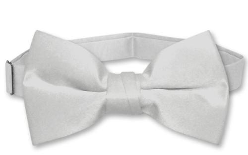 Vesuvio Napoli Boys BowTie Solid Silver Grey Color Youth Bow Tie